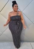 Conjunto de vestido largo de tubo de rayas negras de talla grande de otoño y abrigo a juego