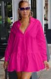 Otoño Casual Rose Turn Down Collar Ruffles Vestido corto de camisa