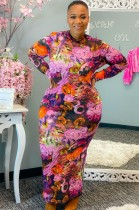 Fall Plus Size Floral Print Slim Long Dress