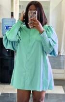 Mini abito chemisier con maniche a lanterna verde casual autunnale