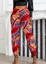 Autumn Casual Retro Print Ankle Banded Pant