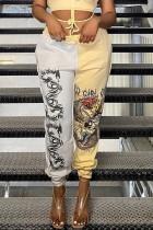 Lässige Herbst-Knöchel-Banded-Hose mit Kontrastdruck
