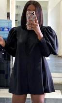 Mini abito chemisier con maniche a lanterna nera casual autunnale