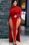 Otoño Tallas grandes Sexy Rojo Cuello alto Manga larga Wasit Tie Slit Vestido largo