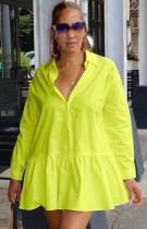 Vestido de camisa corta con volantes de cuello vuelto amarillo casual de otoño