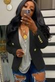 Otoño negro de manga larga con botón Slim Blazer