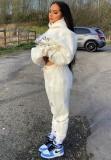 Sudaderas con capucha y pantalón de manga larga con estampado blanco casual de otoño