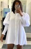 Mini vestido camisero con manga de linterna blanca informal de otoño