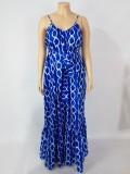 Vestido largo holgado informal con tirantes azules de talla grande de otoño
