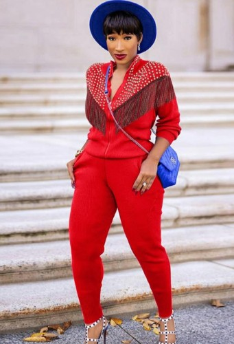 Set di pantaloni e top a maniche lunghe con cerniera rossa casual autunnale con nappe