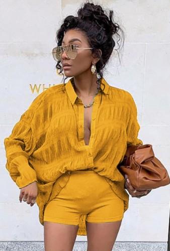 Herfst casual geel shirt met lange mouwen