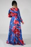 Vestido largo de manga larga con cuello cruzado colorido de otoño