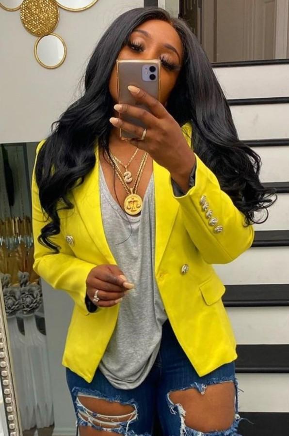 Otoño amarillo manga larga con botón Slim Blazer