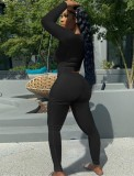 Fall Sexy Black U Neck Slim Top y conjunto de pantalón a juego