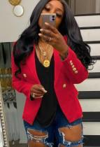 Blazer a maniche lunghe rosso autunnale con bottoni