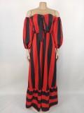 Vestido largo con hombros descubiertos y estampado de rayas rojas