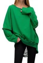 Herbst Casual Grün O-Ausschnitt Langarm Cut line Pullover