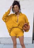 Camisa de manga larga amarilla casual de otoño