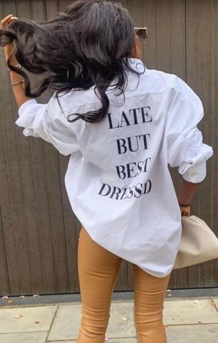 Herfst casual wit shirt met lange mouwen