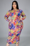 Vestido largo delgado con estampado de serpiente Mulitcolor de talla grande de otoño