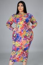 Fall Plus Size Mulitcolor Snake Print Slim Long Dress
