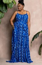 Herbst Plus Size Blaues Sling Casual Lockeres Maxikleid