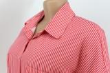 Vestido de camisa larga con botones y cuello vuelto rojo informal de otoño