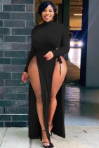 Otoño Tallas grandes Sexy Negro Cuello alto Manga larga Wasit Tie Slit Vestido largo