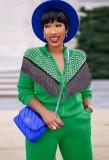 Otoño Casual Diamante de imitación verde con borlas Cremallera Conjunto de pantalón y top de manga larga
