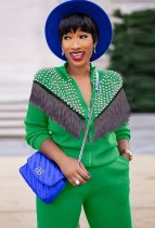 Autumn Casual Green Rhinestone with Tassels Zipper Long Sleeve Top and Pant Set