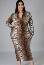 Fall Plus Size Tiger Stripe Print Zip Up Long Dress