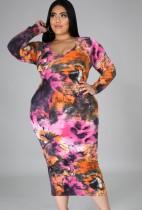 Vestido largo delgado teñido con cuello en U sexy de talla grande de otoño
