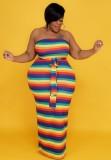Conjunto de vestido largo de tubo a rayas multicolores de talla grande de otoño y abrigo a juego
