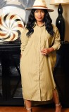 Otoño Casual Kahaki Turn Down Collar Button-Open Long Shirt Dress