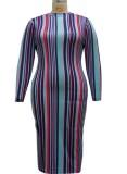 Vestido largo delgado con estampado de rayas mulitcolor de otoño talla grande
