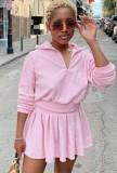 Otoño casual rosa cuello vuelto manga larga top y mini vestido con volantes