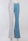 Otoño Casual Contast Hand Emb Flared Trouser