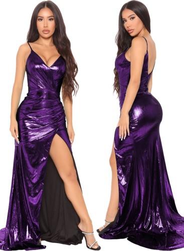 秋の紫の光沢のあるVネックノースリーブスプリットイブニングドレス