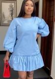 Mini vestido casual con volantes y mangas abullonadas de otoño azul