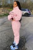 Sudaderas con capucha y pantalón de manga larga con estampado rosa casual de otoño