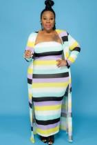 Herbst Plus Size Multicolor Stripe Tube Langes Kleid und passendes Mantel-Set