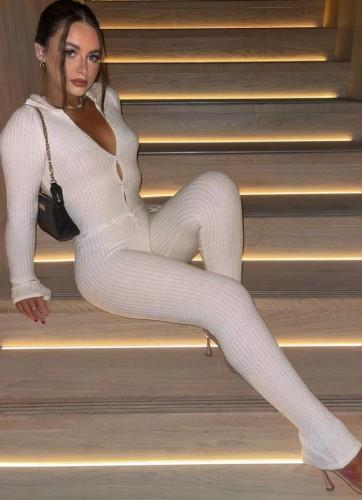 Herfst casual witte button-up lange mouw slanke jumpsuit