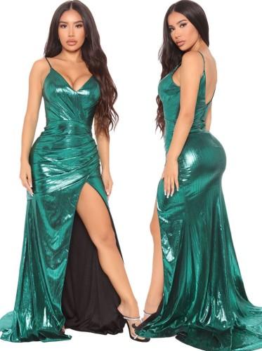 フォールグリーンシャイニーVネックノースリーブスプリットイブニングドレス