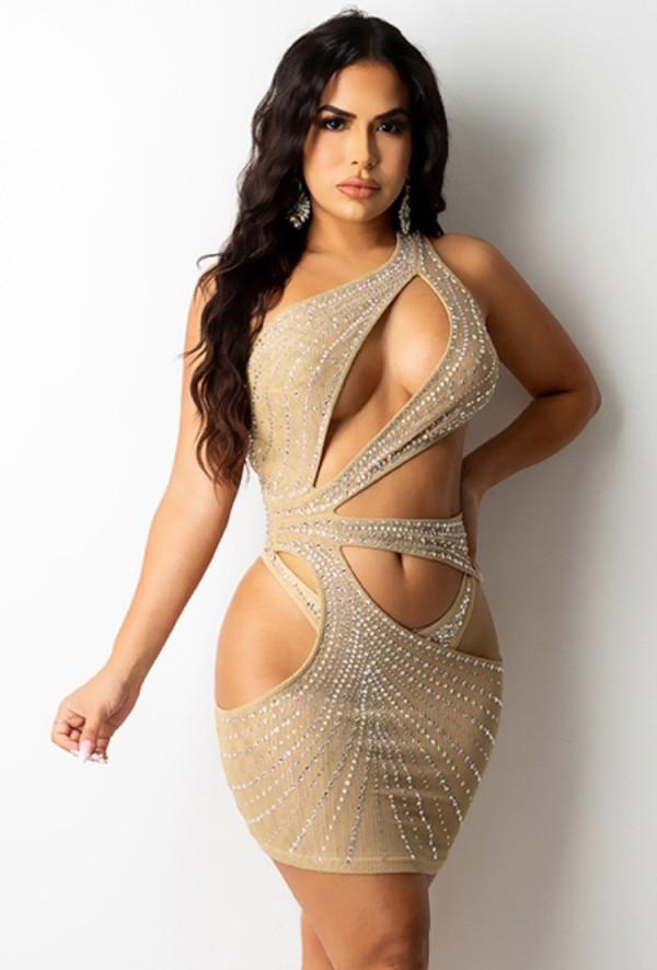 Summer Sexy Kahaki ahueca hacia fuera el vestido ajustado sin mangas con diamantes de imitación