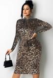 Vestido a media pierna de manga larga con cremallera de leopardo marrón sexy de otoño