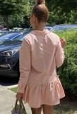 Vestido de camisa corta con volantes de cuello vuelto rosa casual de otoño