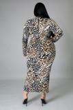 Vestido largo delgado con estampado de rayas de otoño talla grande