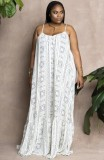 Vestido largo holgado informal con tirantes blancos de talla grande de otoño