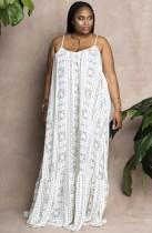 Sonbahar Büyük Beden Beyaz Askılı Günlük Bol Uzun Elbise
