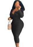 Vestido largo de manga larga con cuello redondo y botón negro informal de talla grande de otoño